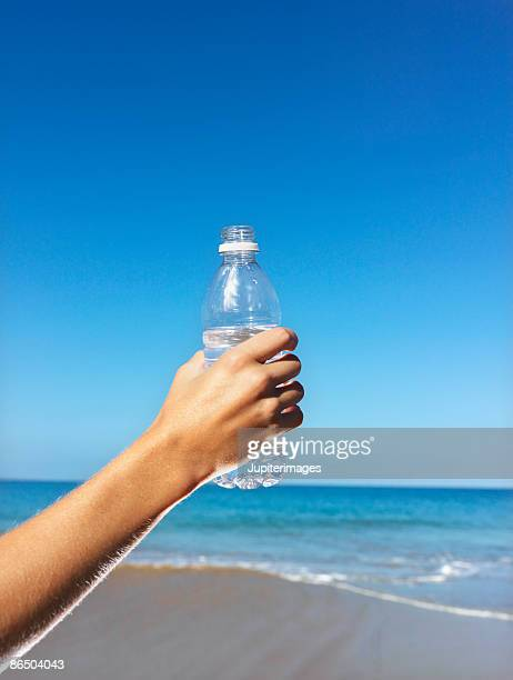 Person holding a bottle of water