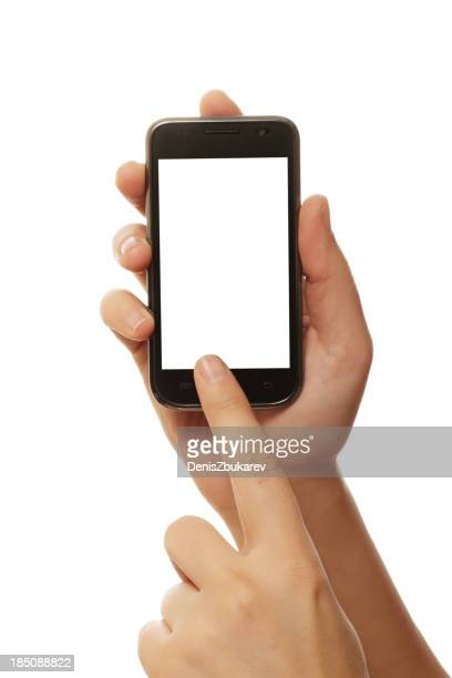 A person holding a smart phone on a white background