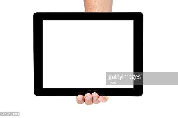 Person holding a tablet with a blank image in one hand