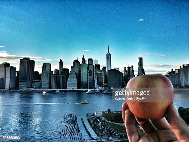 Person Holding Apple Against River And Cityscape