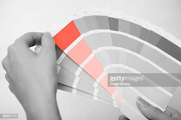Person holding colour samples