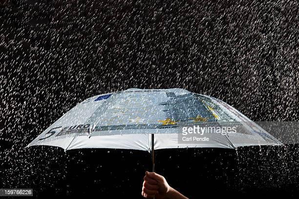 Person holding money umbrella in the rain