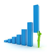 Person holding up a bar graph in an illustration
