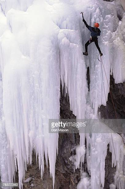Person ice climbing