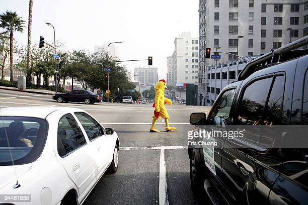 Person in chicken costume crossing street