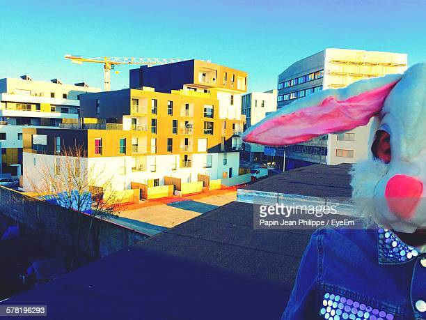 Person In Rabbit Costume Standing On Rooftop Against Buildings