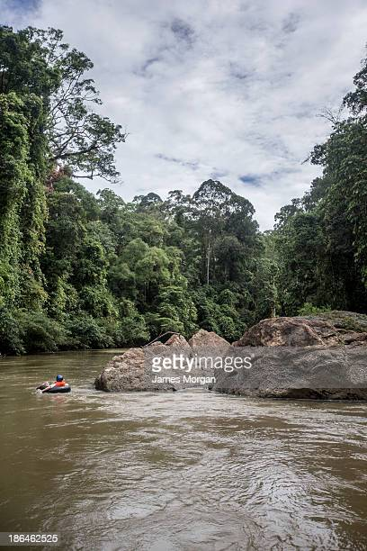 Person in rubber ring on river with trees and rock