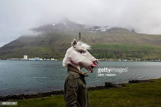 Person in Unicorn Mask in Iceland Landscape