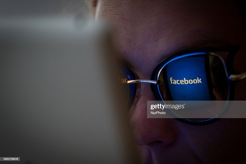 A person is seen logging on to Facebook via a browser on a tablet in Bydgoszcz, Poland, on August 21 2016.