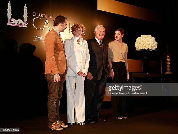 A person jumps on the stage where Charlotte Casiraghi Bernard Fornas and Baroness Carmen ThyssenBornemisza attend the opening of 'El Arte de Cartier'...
