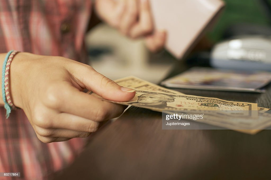 Person making a cash payment