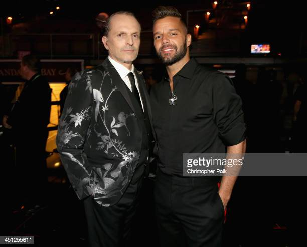 Person of the Year honoree Miguel Bose and musician Ricky Martin pose backstage during the 14th Annual Latin GRAMMY Awards held at the Mandalay Bay...