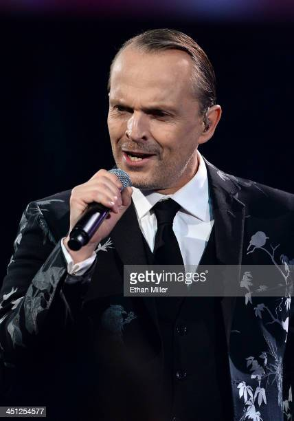 Person of the Year honoree Miguel Bose performs onstage during the 14th Annual Latin GRAMMY Awards held at the Mandalay Bay Events Center on November...