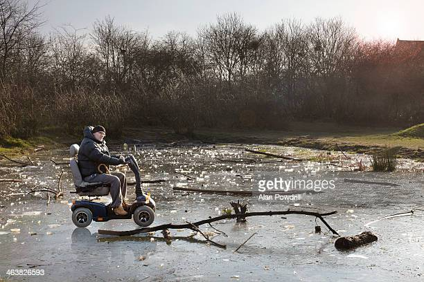 Person on Mobility chair 'stranded' in landscape