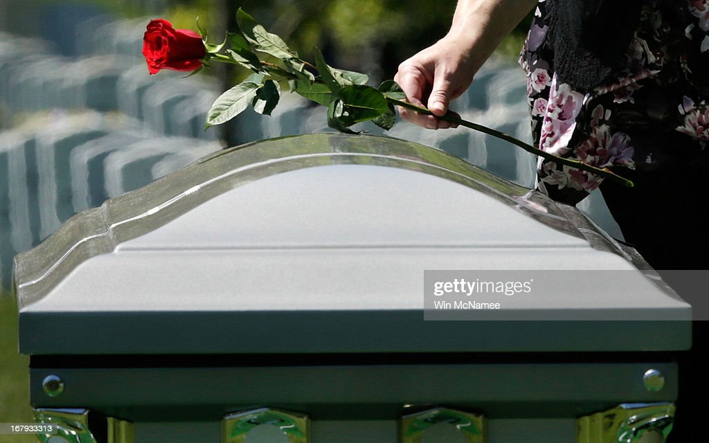 A person places a rose on a casket with the remains of four sailors missing since a helicopter crash during the Vietnam War in July 1967 at a full military honors burial service at Arlington National Cemetery May 2, 2013 in Arlington, VA. The remains of Lt. Dennis Peterson, Ensign Donald Frye, Aviation Antisubmarine Warfare Technician William Jackson and Aviation Antisubmarine Warfare Technician Donald McGrane were buried together during the service.