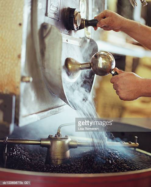 Person preparing coffee beans for roasting
