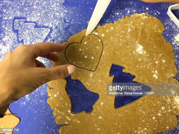 A person preparing gingerbread cookie