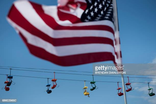 A person rides the State Fair Flyer during the Got to Be NC Festival on the North Carolina State Fairgrounds on May 20 2017 in Raleigh North Carolina...
