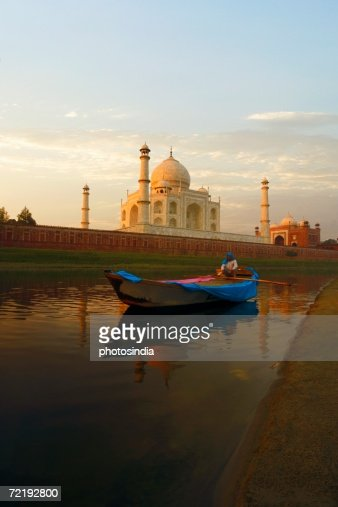 Person Sitting In A Boat Taj Mahal Agra Uttar Pradesh