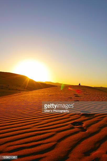 Person sitting on desert
