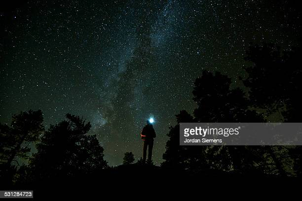 A person standing under the milky way.