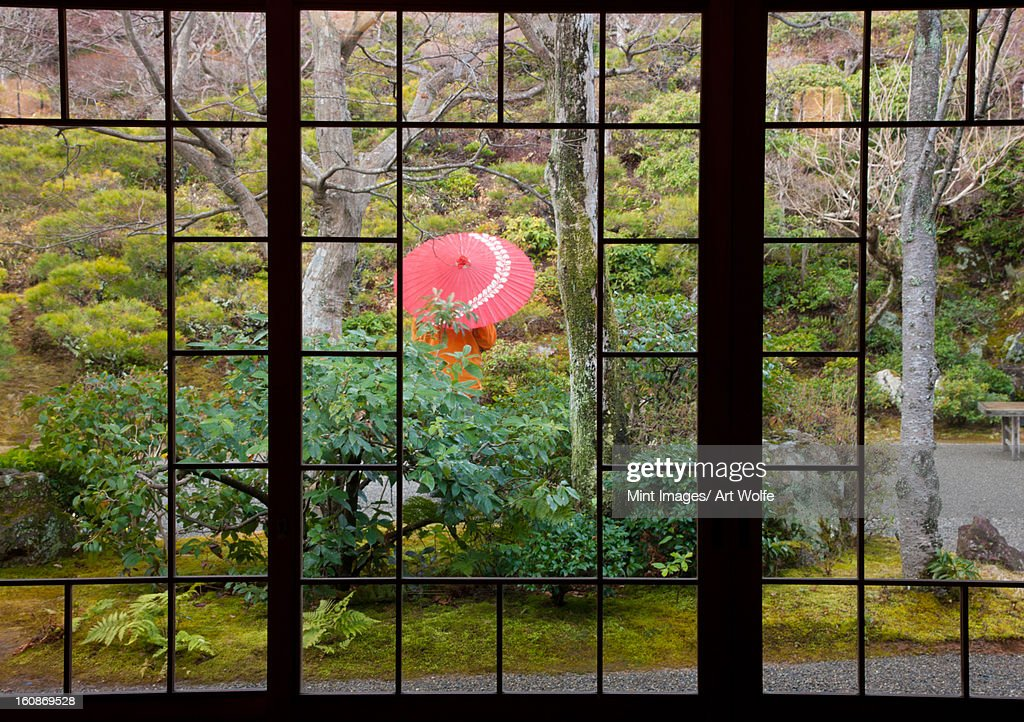 A person stands protected by an umbrella in a courtyard garden, Kyoto, Japan : Stock Photo