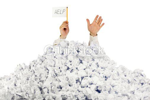 person under crumpled pile of papers help sign stock photo  person under crumpled pile of papers help sign stock photo