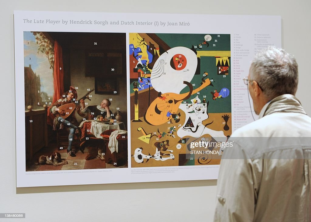 an analysis of joan miros painting the lute player Review by john haber of 'joan miro: painting and anti-painting at the museum   the peaceful city out the window in hendrick sorgh's lute player now bustles.