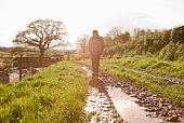 Person walking in muddy path