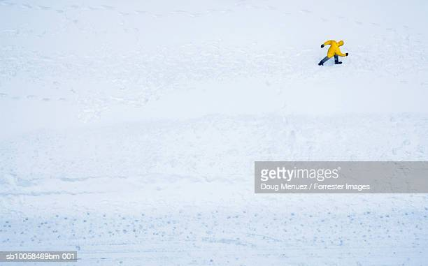 Person walking in snowstorm, aerial view