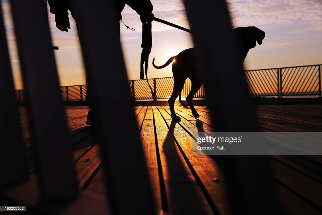 A person walks a dog on a section of boardwalk recently repaired at Rockaway Beach following the devastation of Hurricane Sandy, which destroyed large parts of the boardwalk, on October 29, 2013 in the Queens borough of New York City. Today is the one-year anniversary of Hurricane Sandy. Many residents of the Rockaways and neighboring Breezy Point are reflecting on the progress made over the past year while acknowledging the problems still evident. While the area has made great headway with rebuilding and renovations to the iconic beach communities, the storm devastated much of the area with severe flooding and wind damage. Hurricane Sandy made landfall on October 29 near Brigantine, New Jersey and affected 24 states from Florida to Maine and cost the country an estimated $65 billion.