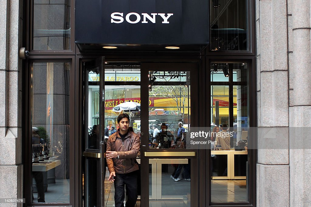 A person walks out of the Sony store on April 10, 2012 in New York City. Sony, the Japanese electronics company, has more than doubled its projected net loss for the past financial year to ´520 billion, the equivalent to $6.4 billion, its worst loss ever.
