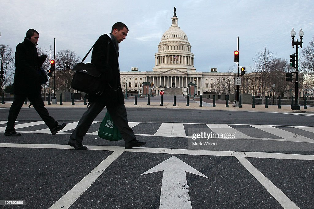 A person walks past the US Capitol building on the morning of January 4 2011 in Washington DC The new 112th Congress is due to be sworn in on...
