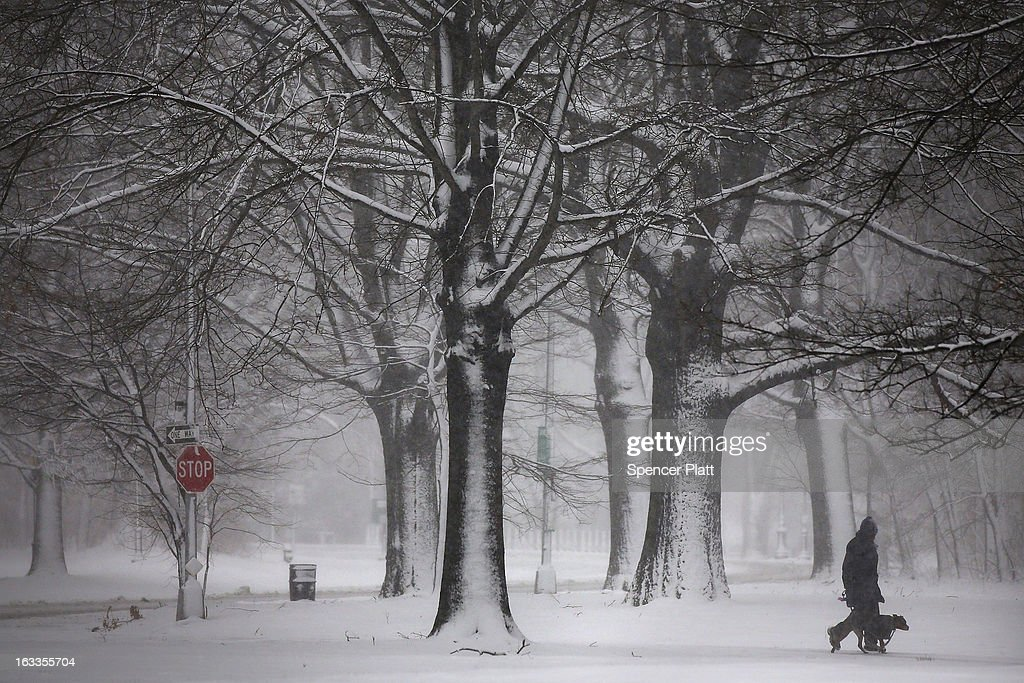 A person walks through a snow-shrouded park on March 8, 2013 in the Brooklyn borough of New York City. As a week-old storm slowly moves out to sea, the New York City area is expecting 1 to 3 inches of snow with more in areas north and west of the city. The storm has caused flight delays at area airports and numerous schools have delayed start times.
