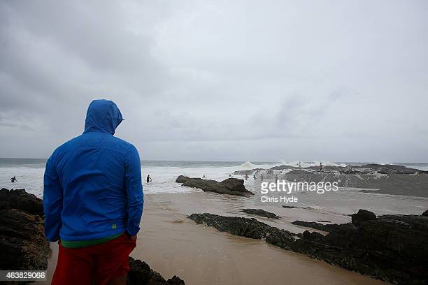 A person watches the waves at Snapper Rocks as Cyclone Marcia approaches the coast of Queensland on February 19 2015 in Gold Coast Australia Cyclone...