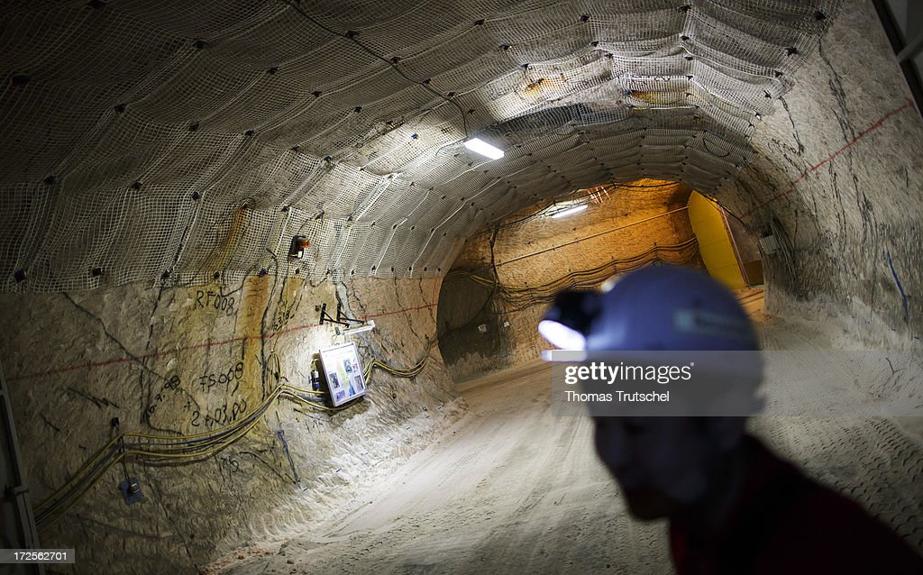 A person with a headlamp stands in a tunnel in Gorleben Mine on July 3, 2013 in Gorleben, Germany. The German Bundestag agreed on June 28 to end radioactive transports to the Gorleben Mine while a commission of experts launches a search for a new nuclear waste disposal site.