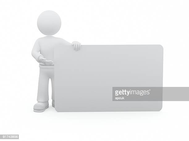 3D person with blank plastic card.