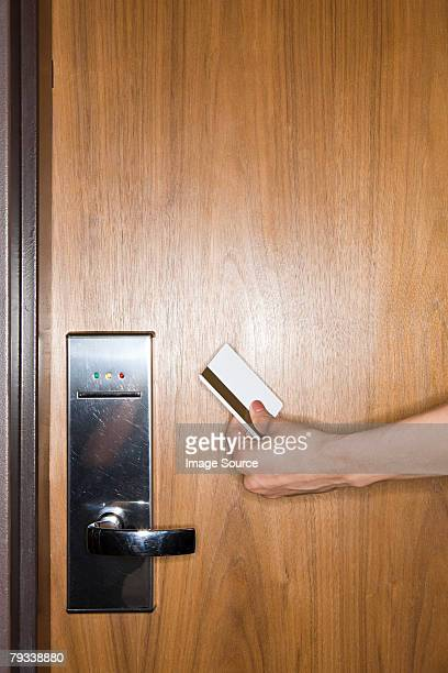 Person with key card