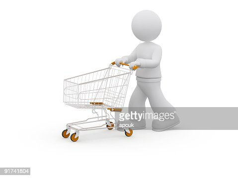3D person with shopping cart. : Stock Photo