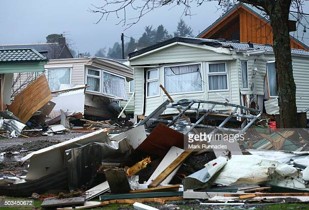 Personal belongings and wrecked caravans at Ballater Caravan Park after the River Dee burst its banks and inundated the city with flood water on...