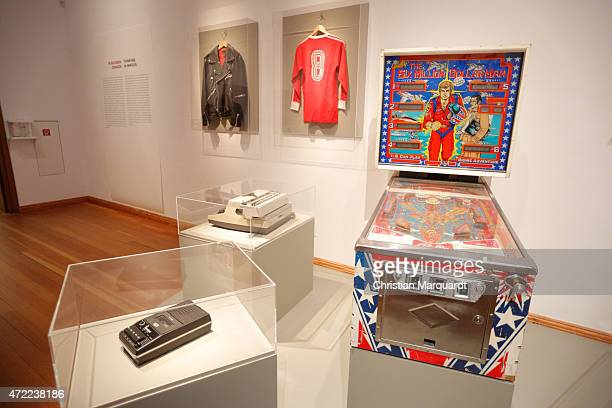 Personal belongings of Rainer Werner Fassbinder Leather Jacket Jersey FC Bayern Munich Pinball Machine Typewriter Dictaphone VCR Player pictured...