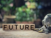 'FUTURE' written on blocks. With blurred vintage-styled background.