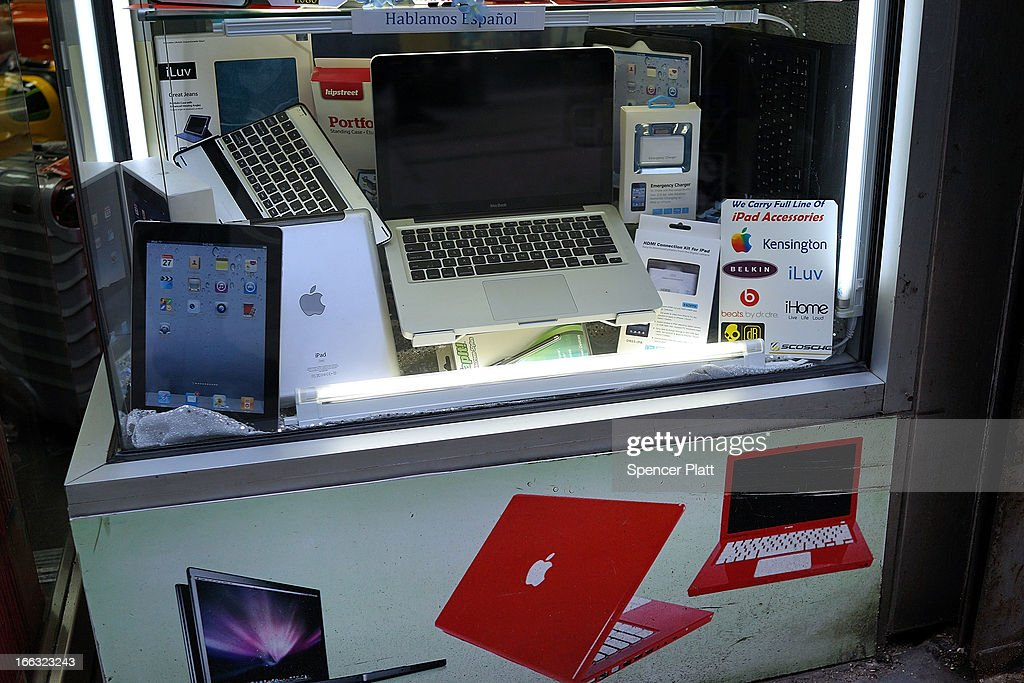 Personal computers (PC's) sit in the window of a store in Times Square on April 11, 2013 in New York City. Shipments of PCs fell 14% worldwide last quarter, sending shares of personal computer chipmakers, manufacturers and software companies sharply lower. As more people around the world turn to smart phones and tablets, PC sales had their worst quarter in history.