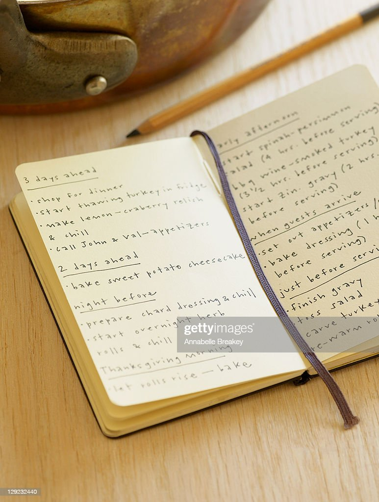 Personal Diary Thanksgiving To Do List : Stock Photo