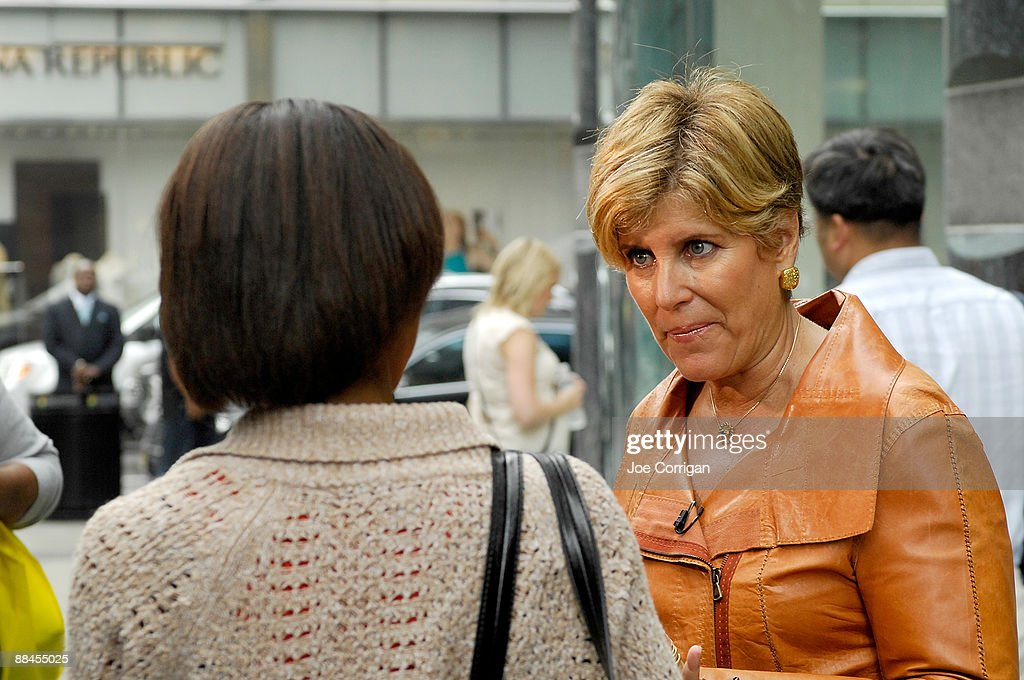 Personal finance expert Suze Orman seen on the streets of Manhattan speaking with passerby's about their current shopping behaviors for an 'Extra' editorial segment on June 12, 2009 in New York City.