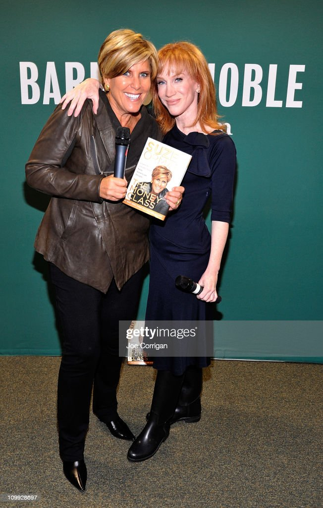 Personal finance guru and author Suze Orman and Emmy Award Winning comedianne Kathy Griffin at Barnes Noble Union Square on March 10 2011 in New York...