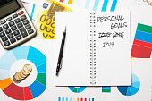 personal goals 2015 2016 2017 title on colorful charts, calculator and euro money background