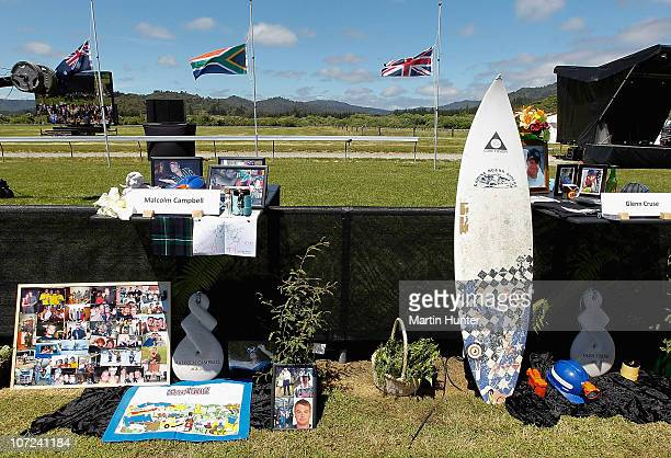 Personal items and photos of the late miners are displayed at a national memorial service for the 29 miners that lost their lives in the Pike River...