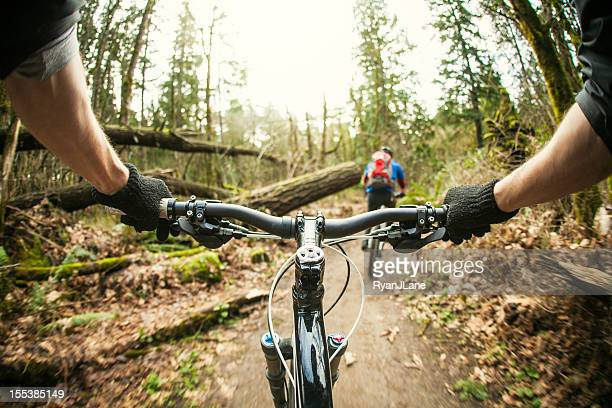 Personal perspective, downhill mountain bike ride