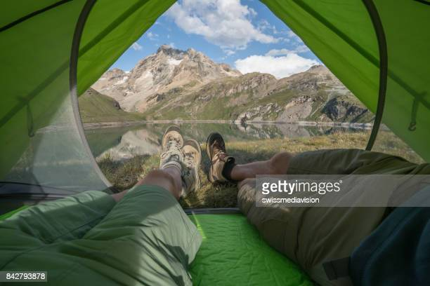 Personal perspective of campers in tent